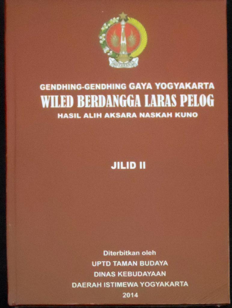 Buku TBY - Gendhing - Gendheng Gaya Yogyakarta Wiled Berdangga Laras Pelog  Jilid II