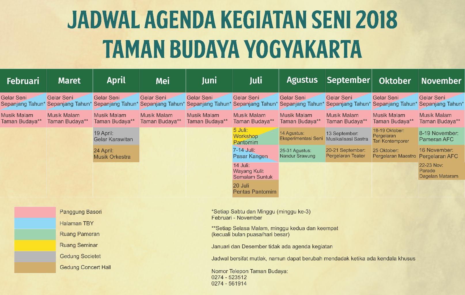 Warta TBY - Jadwal Agenda Kegiatan Seni Taman Budaya Yogyakarta