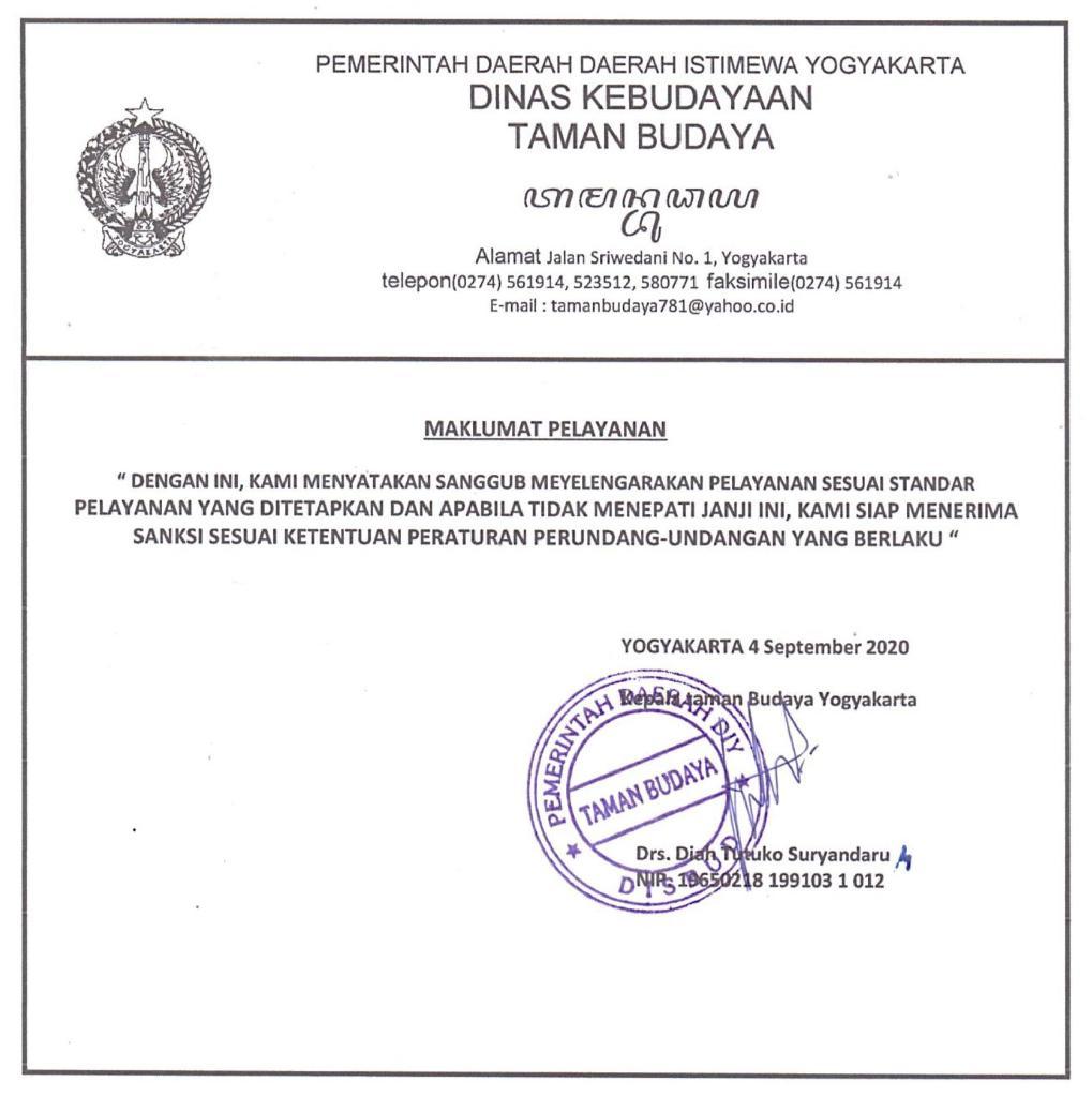 Warta TBY - Maklumat Pelayanan UPTD Taman Budaya Yogyakarta