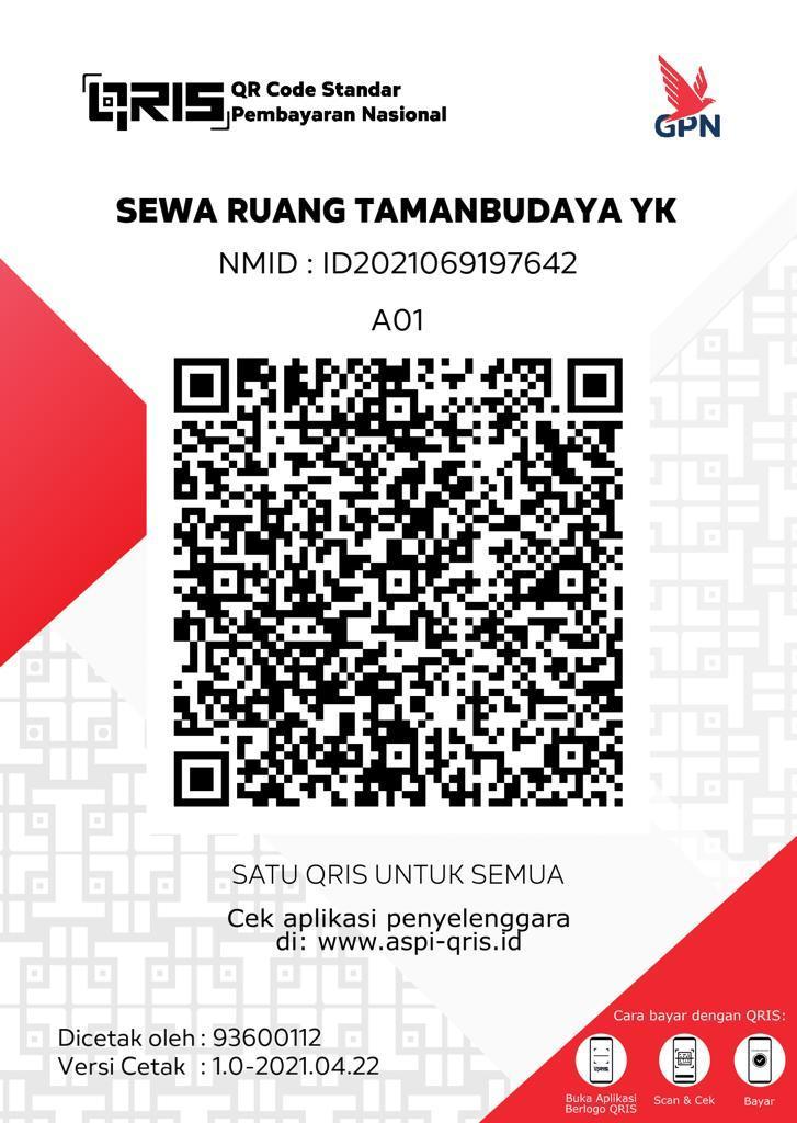 Warta TBY - Pembayaran PAD sewa ruang di Taman Budaya Yogyakarta mulai tahun ini bisa melalui aplikasi QRIS